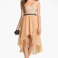 Way-In Studded Waist High/Low Dress (Juniors) | Nordstrom