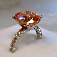 Morganite & White Topaz 3 Carat Sterling Silver by Mercivintage