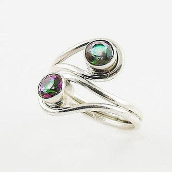 Mystic Topaz Adjustable Sterling Silver Wrap Ring