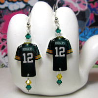 Green Bay Packers QB Aaron Rodgers Jersey Dangle Earrings