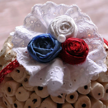 Country Cottage 4th of July tieback-WDW HT firecracker- Persnickety-Fits all ages-boutique-couture-boho chic-dupioni silk rosettes