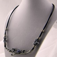Blue Natural Stone Bird Nest Silver Black Cord Handmade Necklace
