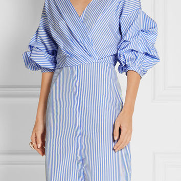Johanna Ortiz - Tuxedo wrap-effect striped cotton-poplin shirt dress