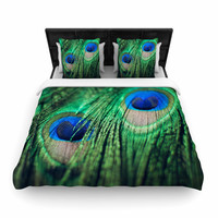 "Chelsea Victoria ""Peacock Feathers"" Blue Green Woven Duvet Cover"