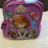 """DISNEY SOFIA THE FIRST LITTLE PRINCESS 10""""BACKPACK WITH MULTIPLE COMPARTMENTS"""
