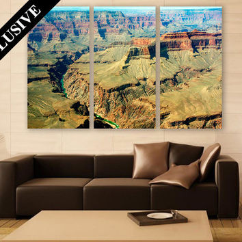 Mountain Canvas Art 3 Panel Wall Decor Grand Canyon Wall Art Colorado River Nature Photography Art Print for Home and Office Wall Decoration
