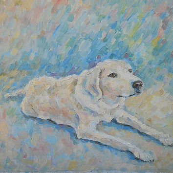 "Dog painting ""Best friend"", Oil Painting, Impasto, Wall Decor, Made to Order, Custom Pet Portrait, Dog Portrait, Dog Lover Gift, Animal"