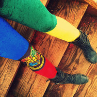 Harry Potter inspired Hogwarts House colors velvet Leggings pants lycra