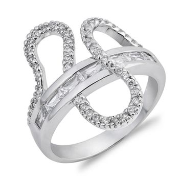 Sterling Silver Baguette Band with Ribbon Wave Cubic Zirconia Ring