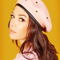 Military Stud Beret (Dusty Pink)