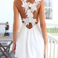 White Mini Summer Dress with Detail Straps