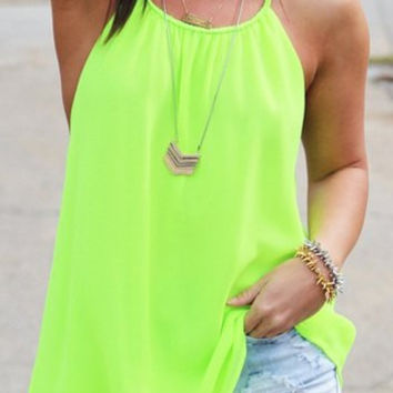 Green Sleeveless Backless Chiffon Blouse