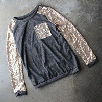 gold sequin long sleeve and pocket lightweight sweatshirt