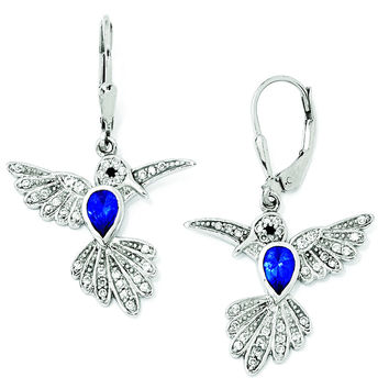 Cheryl M SS CZ & Syn Dk Blue Spinel Hummingbird Leverback Earrings QCM606
