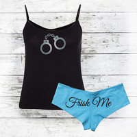 Police Girlfriend - Law Enforcement Wife - Frisk Me Tank Top & Boy Shorts Set - Police Officer Wife - Women's Lingerie