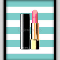 "8""x10"" Wall Decor Print, Modern Home Decor-Chanel Lipstick With Striped Background"