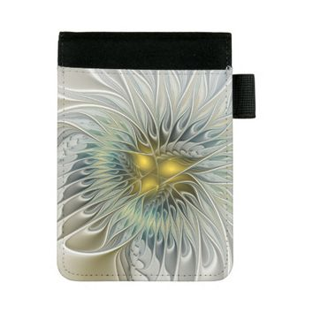 Golden Flower Fantasy, abstract Fractal Art Mini Padfolio