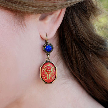 Pharaoh Egyptian Earrings, Antique Earrings, Artifact, Egypt Jewelry, Archaeology Gift, King Tut Earrings, Cleopatra Costume, Goddess E306