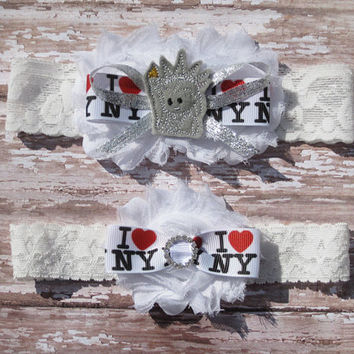 I Love NY Garter Set | New York Wedding Garters | Bridal Garter and Toss Garter
