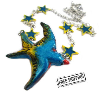Rockabilly jewelry Swallow necklace swallow tattoo sparrow jewelry blue bird necklace star retro rockabilly pin up jewelry punk psychobilly