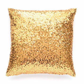 "Gold Throw Pillow Cover - Gold Sequin - 20"" x 20"" - Decorative Pillow, Gold Pillow, Sequin Throw Pillow, Pillow Cover"
