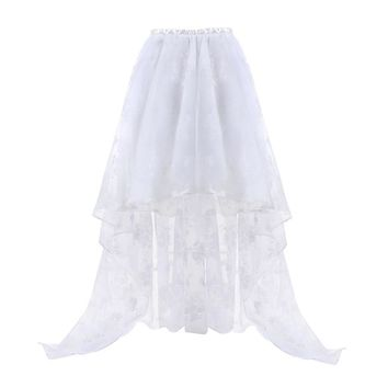 Sapubonva Women's Steampunk Gothic Vintage Corset Skirt Floor Length Sexy Wedding Party High Low White Floral Lace Skirt Fashion