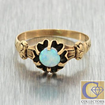 1880s Antique Victorian Estate 14k Solid Yellow Gold Round Opal 7mm Band Ring