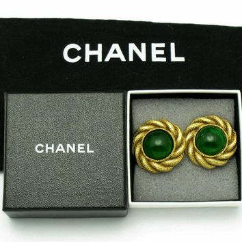 Authentic CHANEL Emerald Green Gripoix Glass Domed Clip Earrings in Box