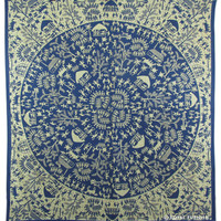 Blue Indian Tribal Bohemian Mandala Hippie Dorm Decor Tapestry Wall Hanging Decor Art