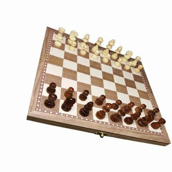 New Set Chess  30*30cm Wooden Folding Chess Checker Backgammon Combination Game