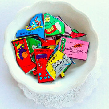 Vintage State Puzzle Pieces / 5 Pieces / Journal / State Puzzle / Planner / Scrapbook