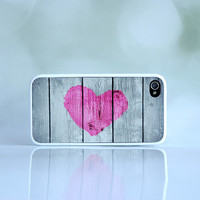 Pink Valentine's Day Heart iPhone Case + Rustic Love + Country Heart Phone Case