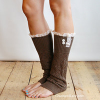 The Lacey Lou Coffee Brown Open-work Leg Warmers with knit lace trim and buttons - Legwarmers (item no. 3-6)