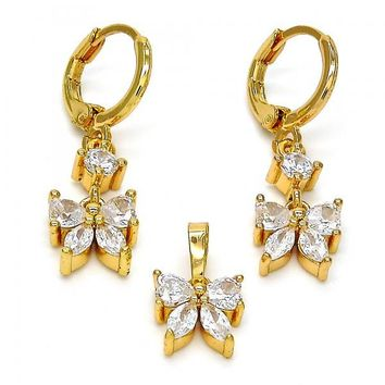 Gold Layered Earring and Pendant Adult Set, Butterfly Design, with Cubic Zirconia, Golden Tone
