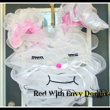 Rabbit Wreath, Deco Mesh Wreath, Deco Mesh, Wreath, Holiday, Holiday Wreath, Rabbit, Decoration, Easter, Easter Wreath