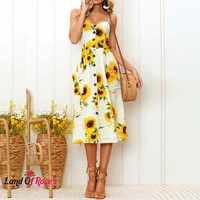 Plus Size Women Midi Floral Sunflower Dress Striped Ladies Backless Party Dress