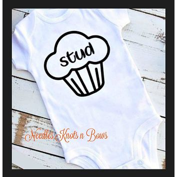 Stud Muffin Baby Onesuit, Boys Stud Muffin Tshirt, Baby Boys Funny Sayings Onesuit