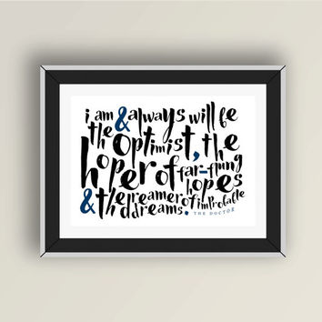 Doctor Who quote PRINTABLE, Doctor Who digital art print, The 11th Doctor quote, Eleventh Doctor, inspirational, geek art typography, Dr Who