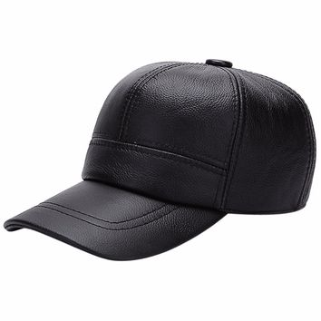 Fashion Autumn Winter Men Baseball Caps Solid Leather Snapback With Ear Flaps Russia Warm Dad Hat Gorras