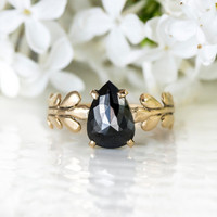 Black Pear Shaped Diamond Wisteria Ring