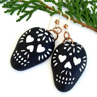 Sugar Skull Earrings, Halloween Day of the Dead Black and White Ceramic Handmade Jewelry