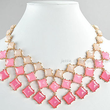 Statement Necklace,Bubble Necklace,Bib Necklace, Popular Necklace,Wedding Necklace(FN0721-Pink)