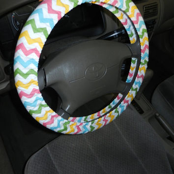Girly Chevron Steering Wheel Cover