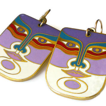Laurel Burch Earrings Machado Cat Face Gold Tone Enamel Vintage Jewelry