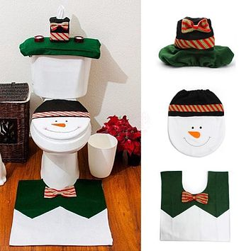 Christmas 4PCS Snowman Bathroom Toilet Cover Mat Water Tank Cover Paper Towel Cover Xmas New Year Decorations