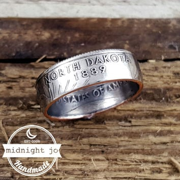 North Dakota State Quarter Coin Ring