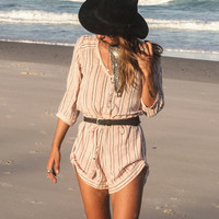 Island Boho Playsuit - Coral