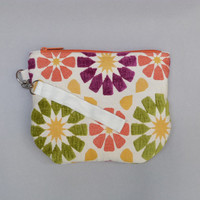 Large floral wristlet purse | orange, green, purple | spring, summer fashion purse | bright fun flowers | inner pocket | eco friendly purse
