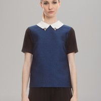 Sandro Top - Color Block Embellished Collar