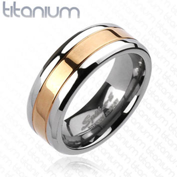 8mm center rose gold ip band ring solid titanium mens ring wedding band - Mens Rose Gold Wedding Rings